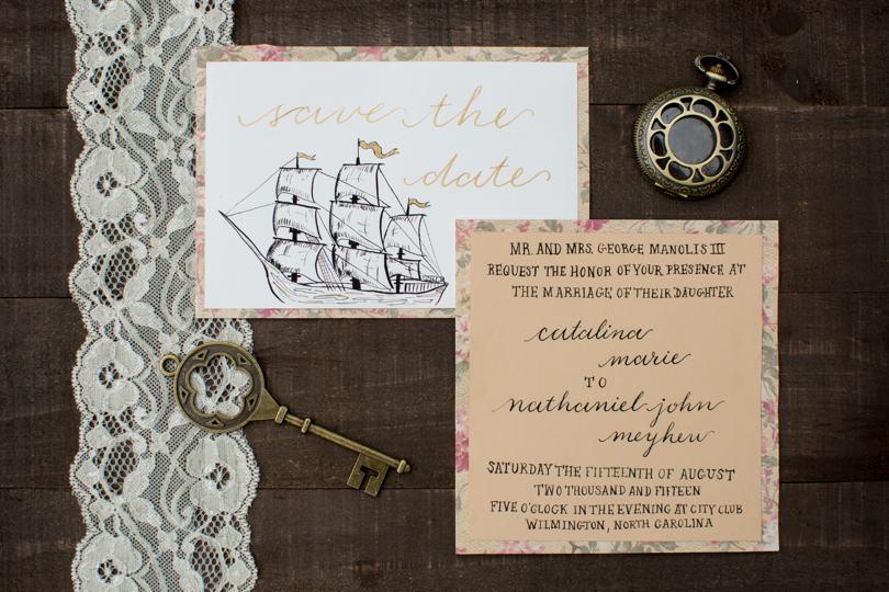 Nautical theme wedding stationery