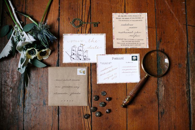 Rustic nautical theme wedding invitaions
