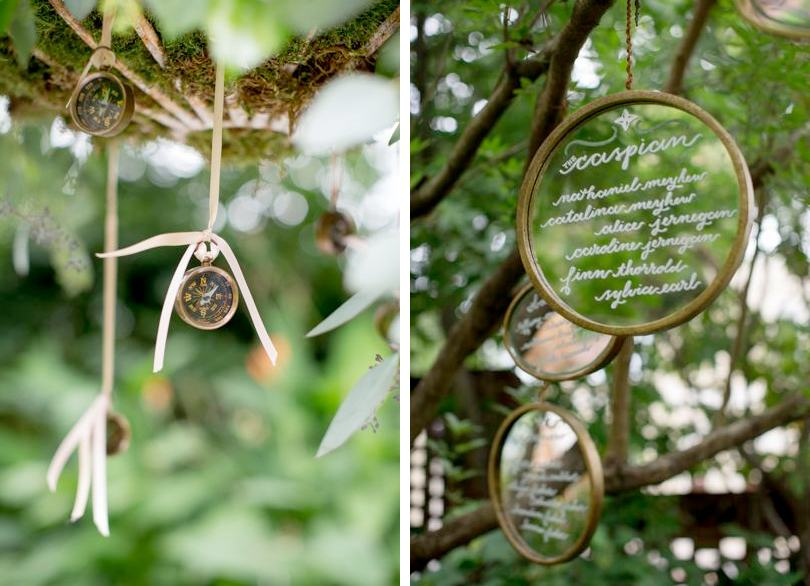 Rustic wedding decor hanging from trees