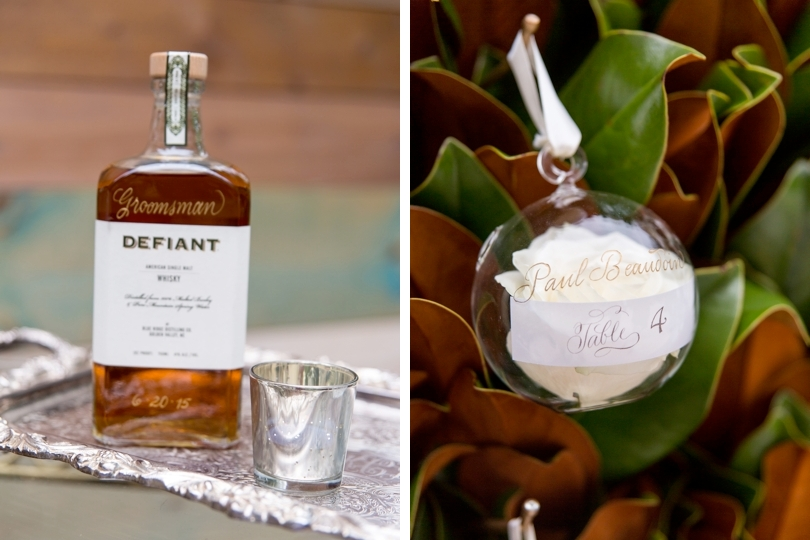 Southern wedding decor and whisky groomsmen gift