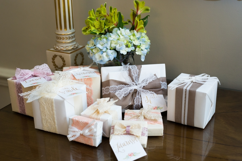 Themed gift wrapped for bridesmaids