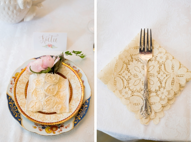 Vintage china and linens for wedding table