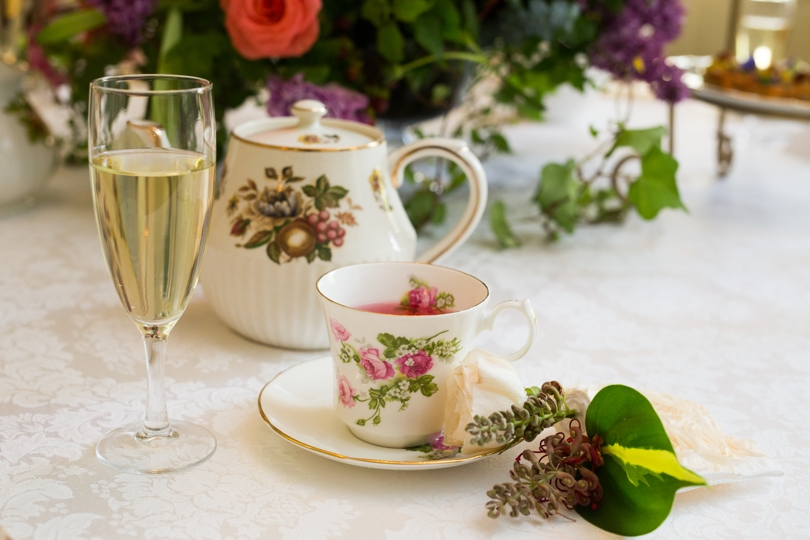 Vintage china and teapots for bridesmaid luncheon
