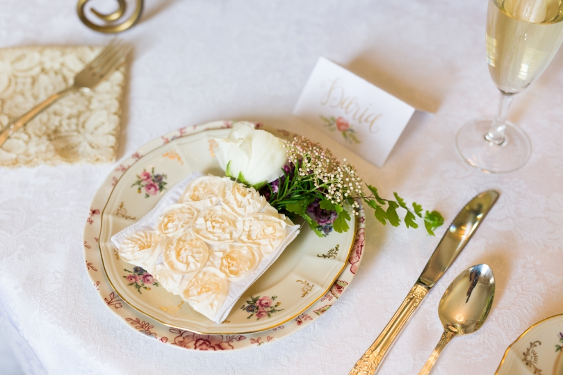Vintage tablesetting for bridal luncheon