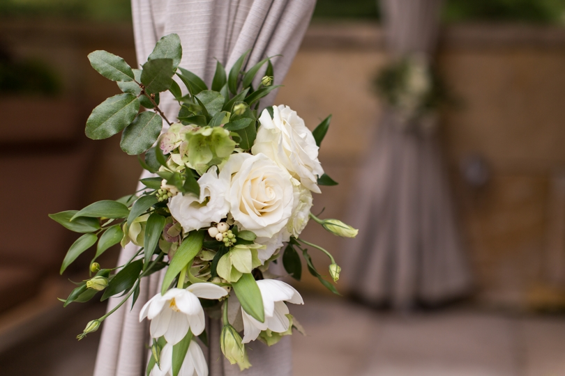 White wedding flowers by Raleigh florist