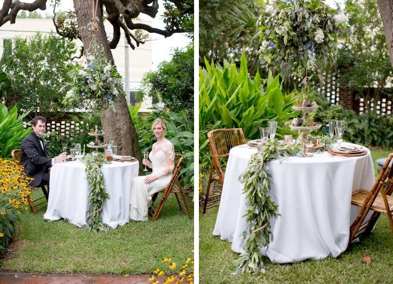 Wilmington NC florist creates wedding table garland