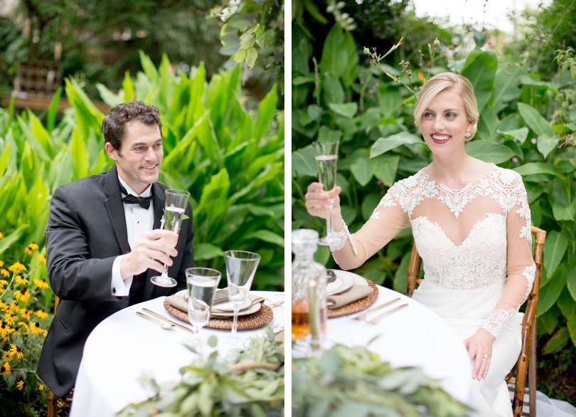 Wilmington bride and groom toast at coastal wedding