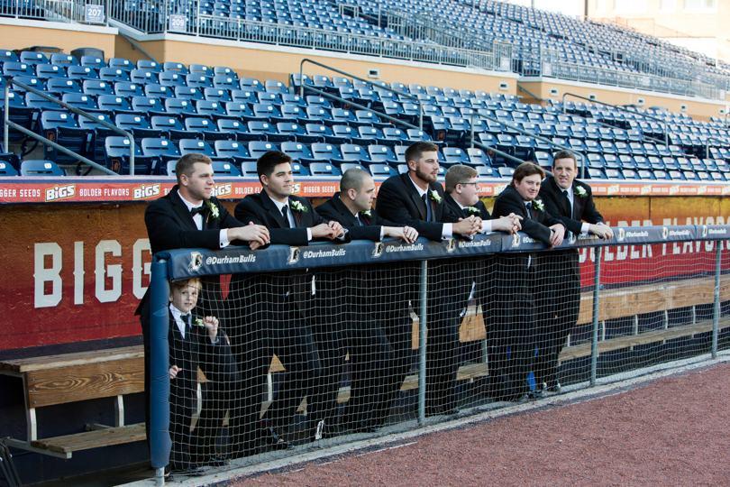 Durham groomsmen at the Durham Bulls Stadium