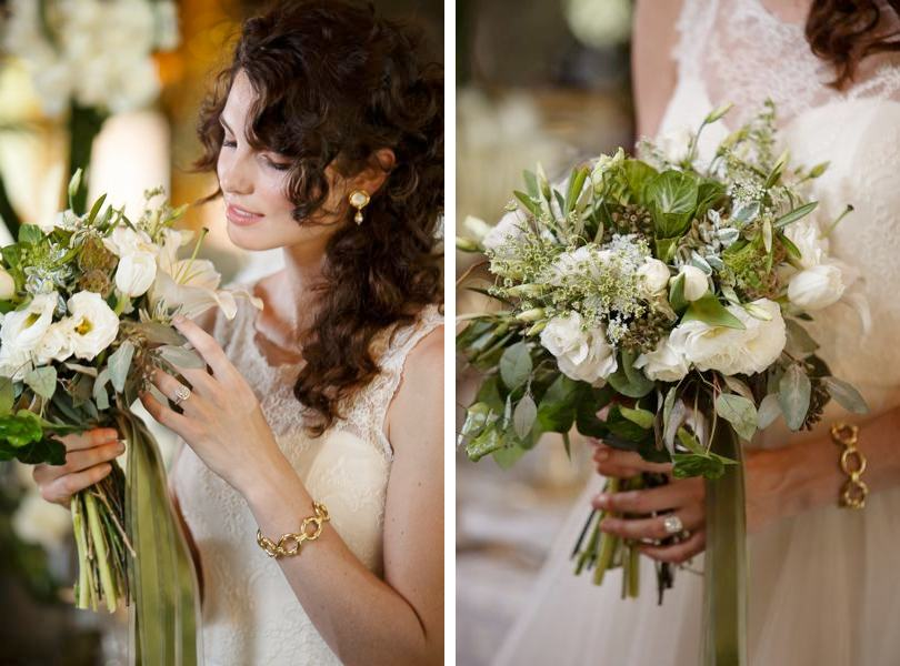 Green and white bridal bouquets