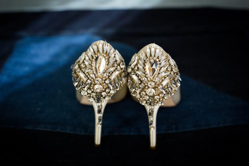 Jeweled Bagley Miska wedding shoes