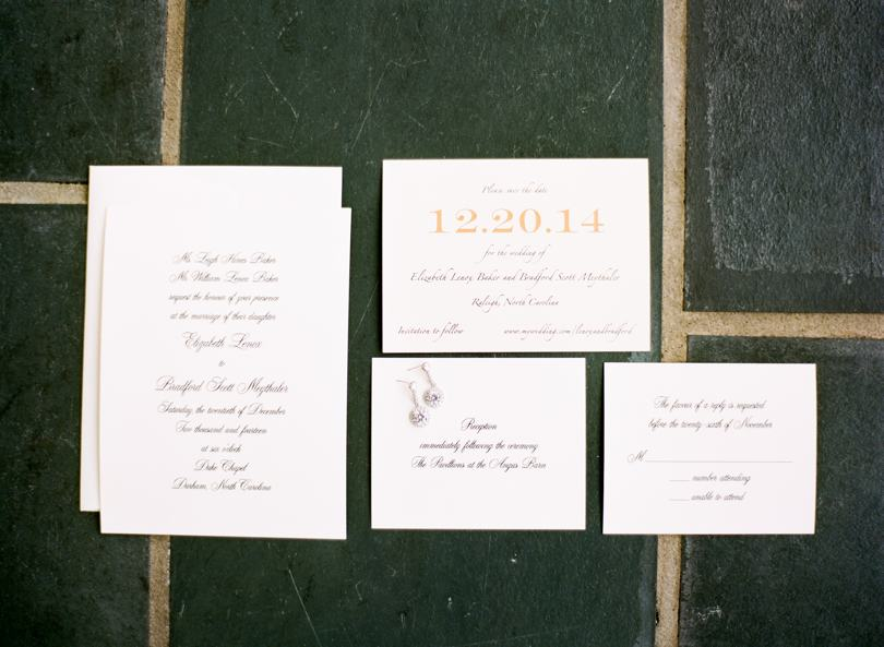 Gold engraved wedding invitations