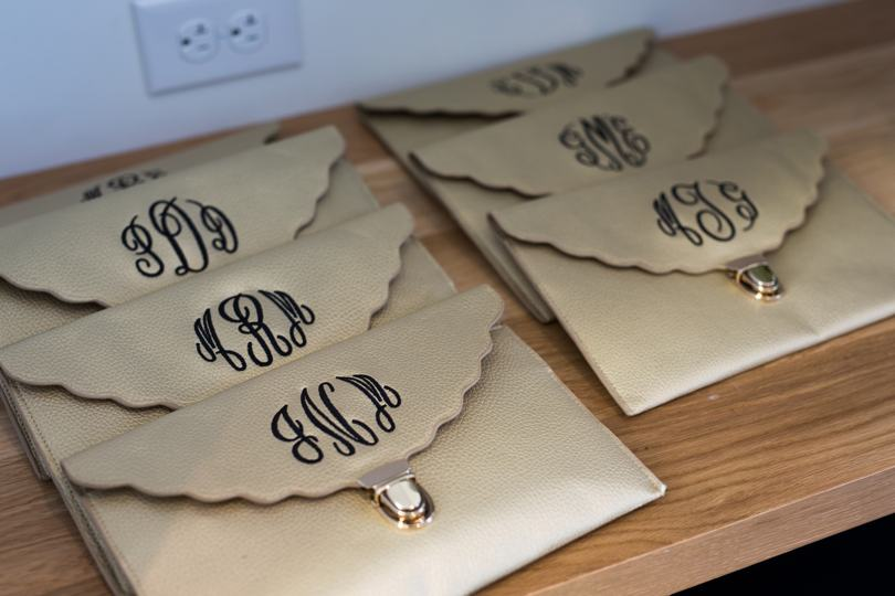 Monogrammed bridesmaid clutches