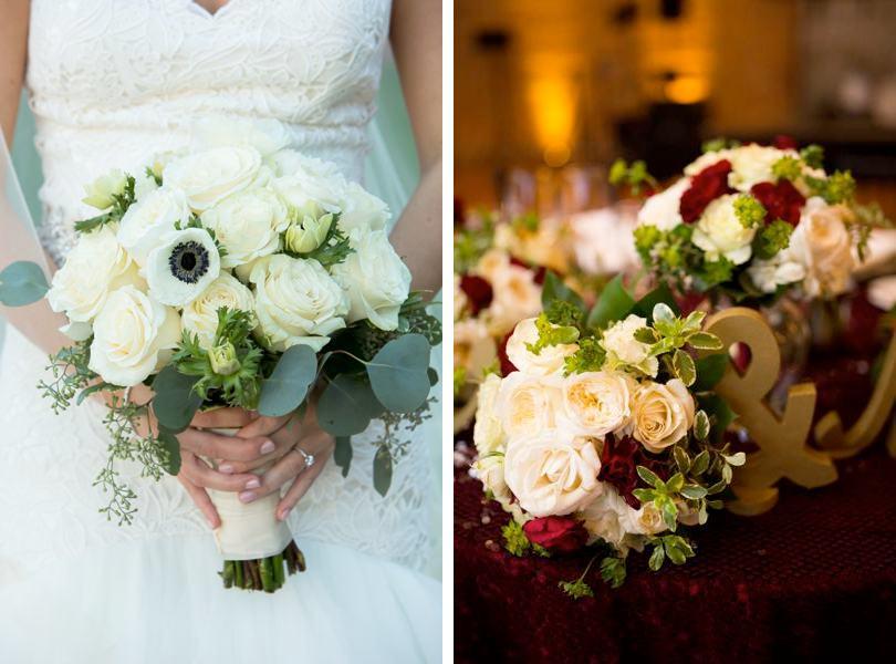 White and marsala wedding color inspiration