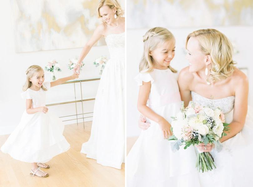White flower girl dress from Bella Bridesmaids Raleigh