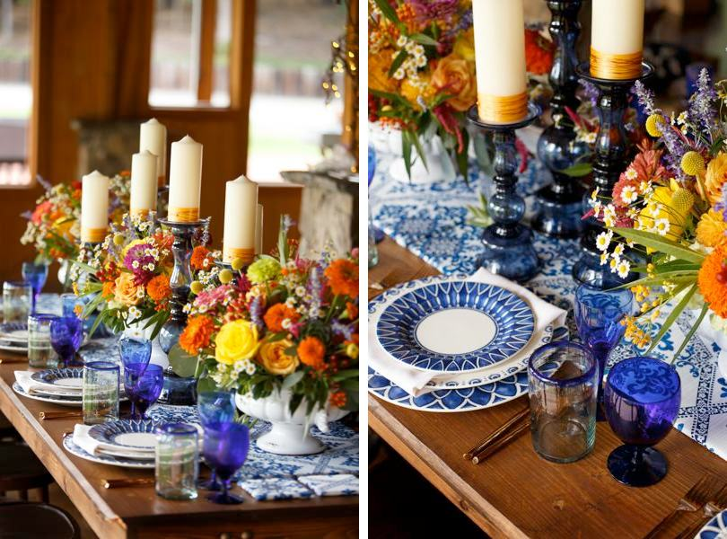 Blue and gold table settings