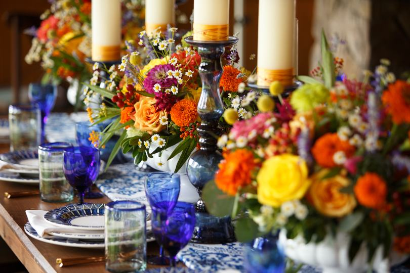 Colorful centerpiece inspiration from Catering Works
