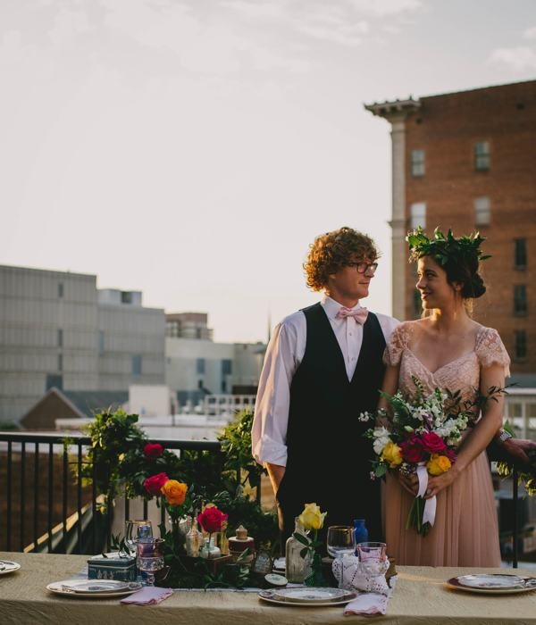 Bridal shoot on Raleigh rooftop