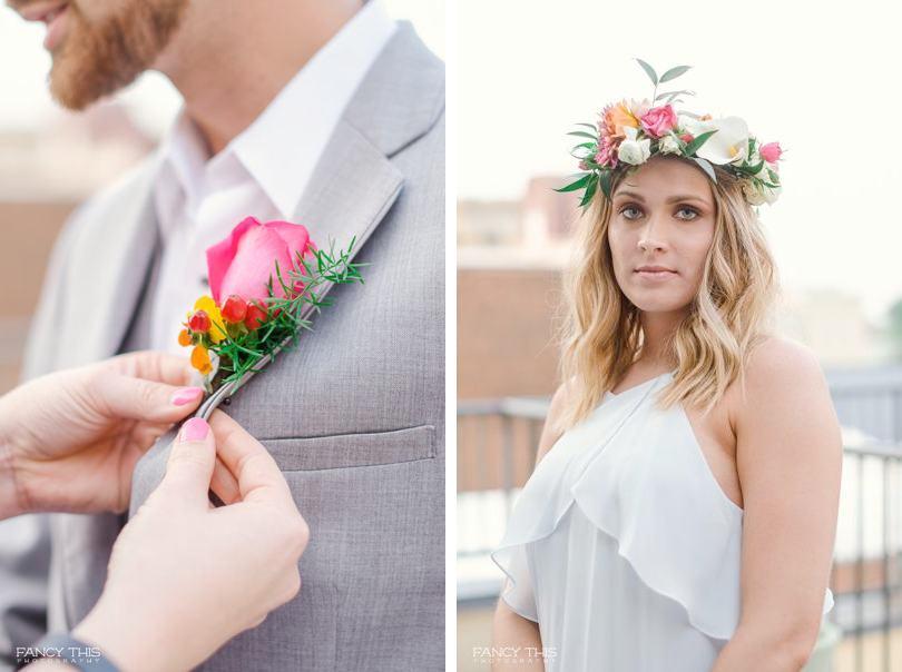 Bright flowers in Bohemian wedding