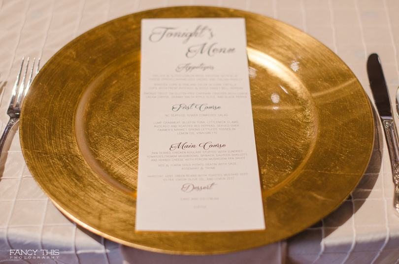 Gold plates at Raleigh wedding venue