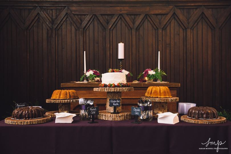 Rustic dessert table at wedding