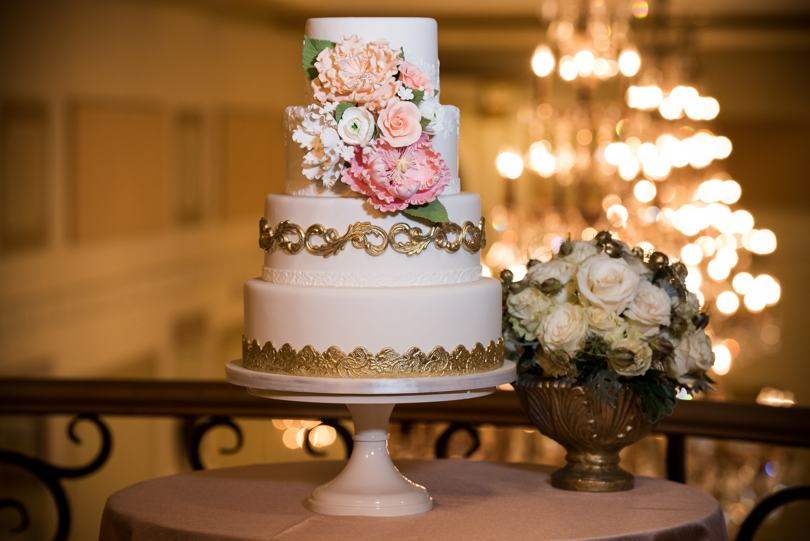 white-pink-and-gold-wedding-cake