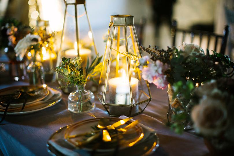 Lanterns used on wedding tables