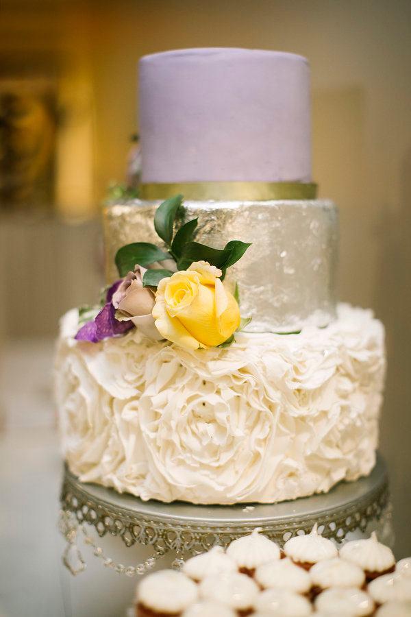 Purple, yellow and white wedding cake
