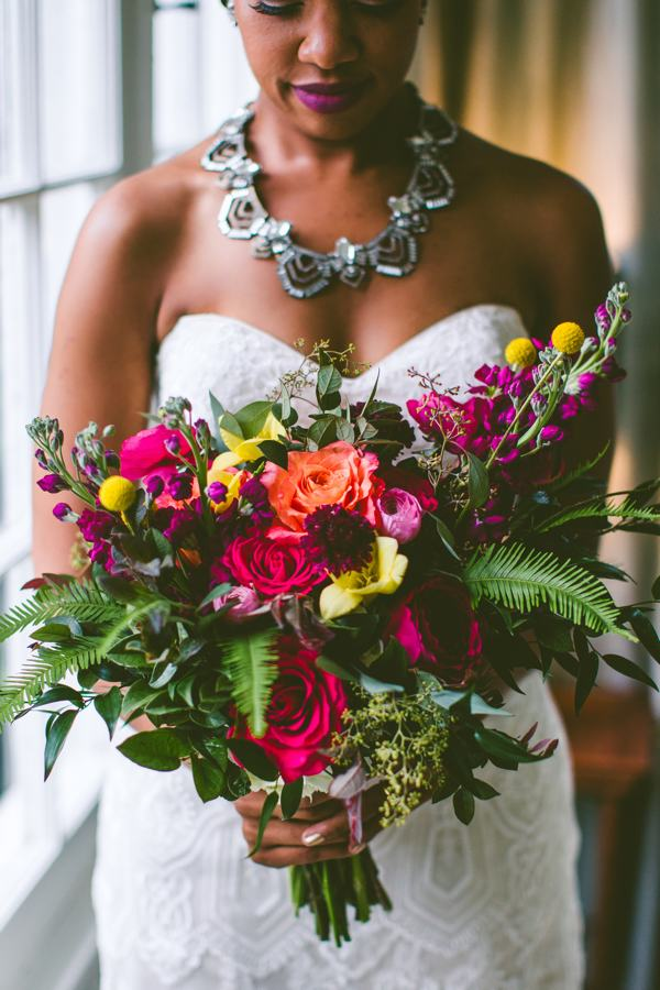 Colorful wedding bouquet by Eclectic Sage
