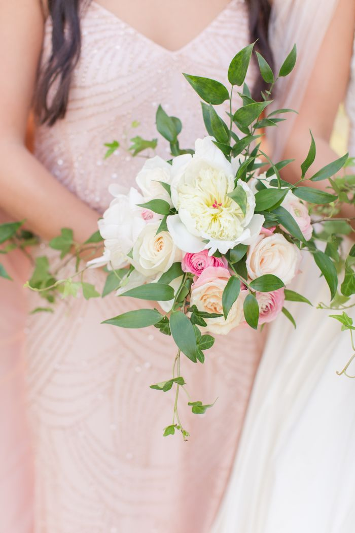 Adrianna Papell bridesmaid dress in pink with loose garden bouquet in white and pink by Jamie Blow Photography