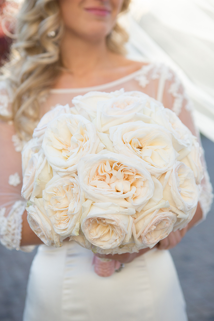 Giant Garden White Roses Bridal Bouquet, Raleigh Florist