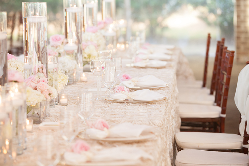 Elegant Southern Wedding Tabletop with Candlelight