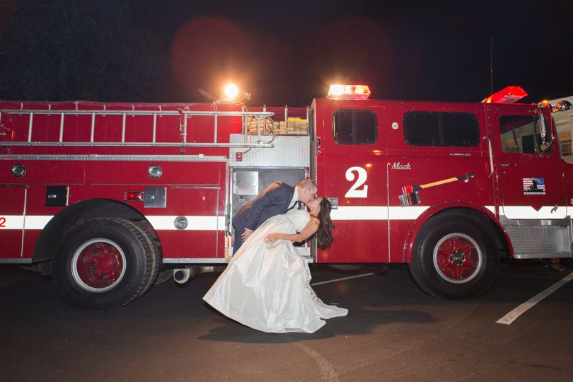 Firetruck Exit for NC wedding by Jamie Blow Photography