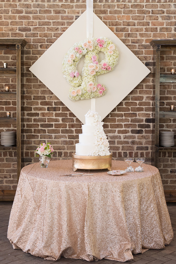 Floral Married Initial at NC Wedding by Fresh Affairs at La Cosa Bella