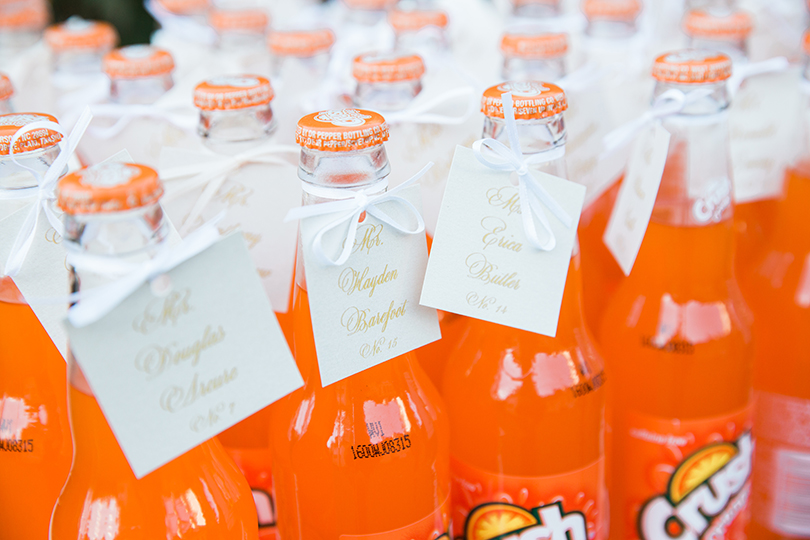 Orange Crush Wedding Favors with Calligraphy tags, Southern Love Studios