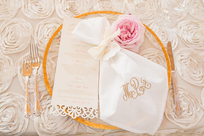 Wedding Tabletop Inspiration of Lace Menus with Monogram Napkins and Rose Textured Linen La Cosa Bella Events Southern Love Studios