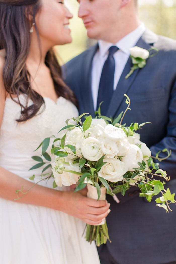 White Bouquet with Greenery with Bride and Groom Jamie Blow Photography