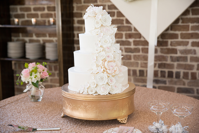 White Wedding Cake with Cascading Roses Southern Love Studios