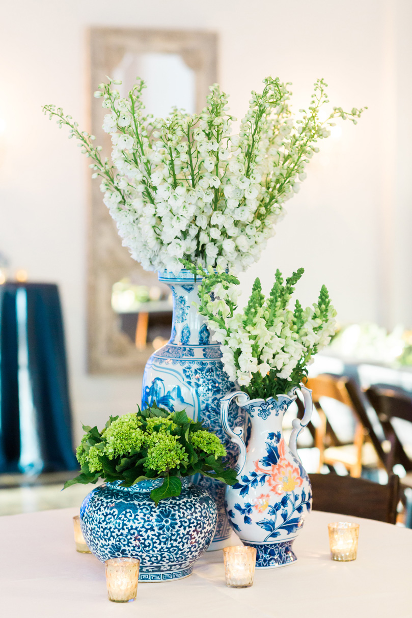 Blue and White China vases wiht floral arrangements at NC reception at The Merrimon Wynne by Gather Together, Melissa Delorme