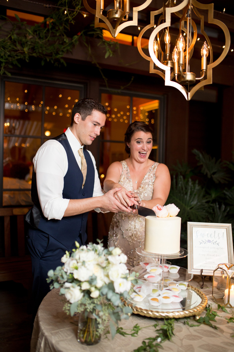 Bride and Groom Cutting Wedding cake at Duke Gardens NC Wedding by Details Cake Design by Gather Together photographer Katherine Miles Jones