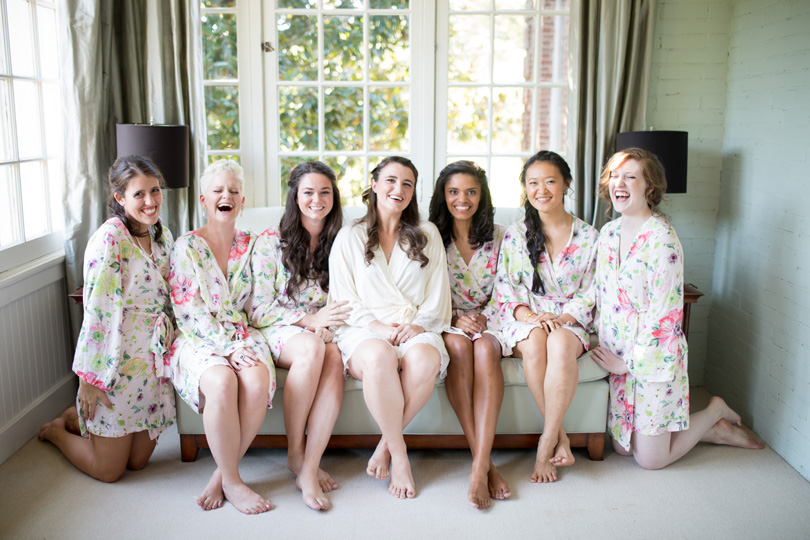 Bride with Bridesmaids in spring floral robes Duke Chapen Wedding