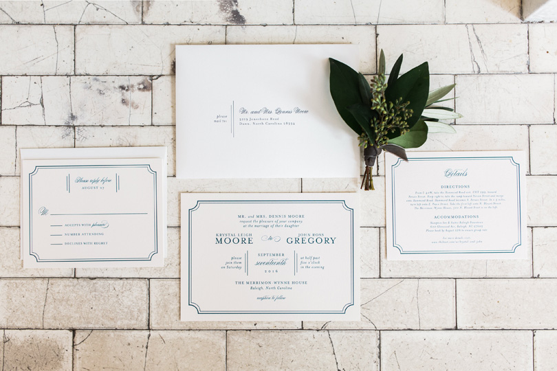 Classic white and blue paper invitations for The Merrimon Wynne House wedding by Gather Events, Melissa Delorme