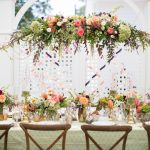 Coral Peach and Gold Hanging Arrangement by Eclectic Sage, Katherine Miles Jones Photography at Merrmon Wynne House in NC