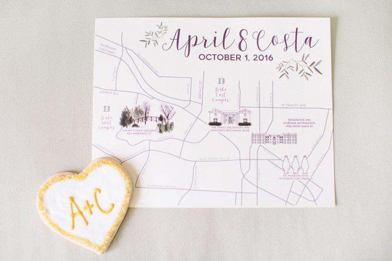 Duke Gardens Wedding Durham Wedding Graphic Map