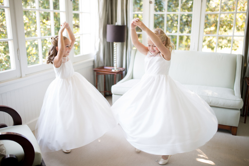 Flower Girls in white dresses Duke Chapel wedding by Gather Together Photography by Katherine Miles Jones