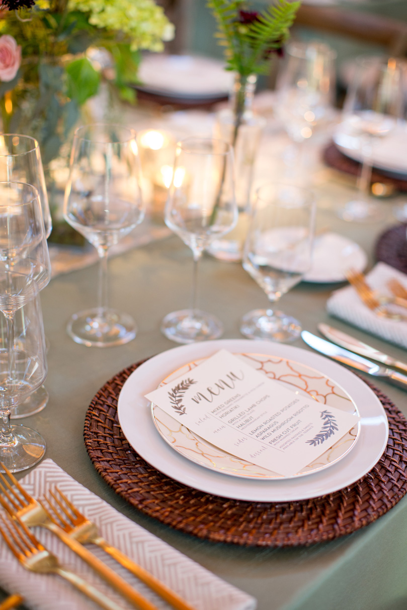 Gold Accents in Romantic NC Wedding at Duke Gardens with menus by Mason Dixon by Gather Together Photography by Katherine Miles Jones
