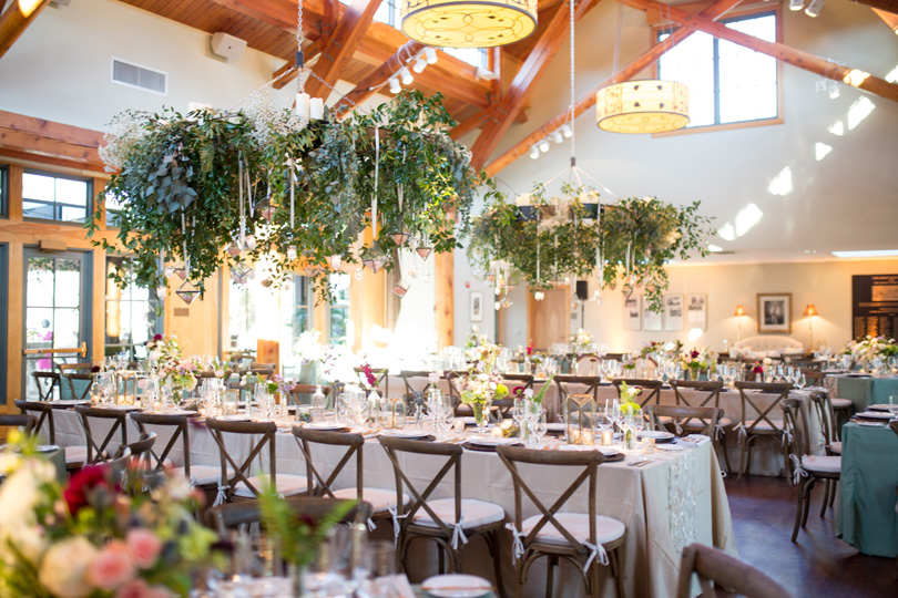 Hanging Floral Chandeliers by Watered Garden at Doris Duke Center Duke Gardens wedding by Gather Together Photography by Katherine Miles Jones
