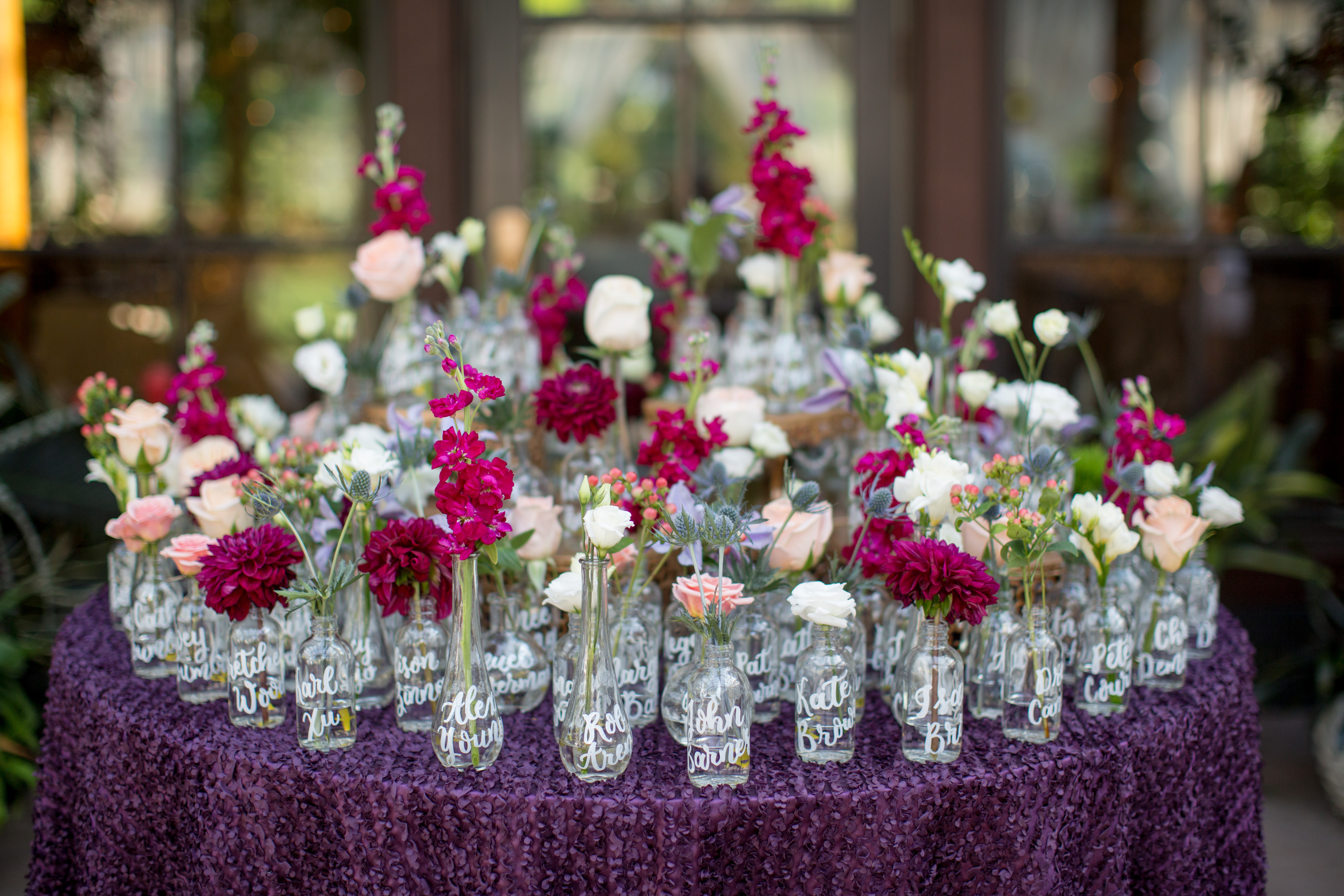 Table Assignments with personalized calligraphy on glassware, Katherine Miles Jones Photography