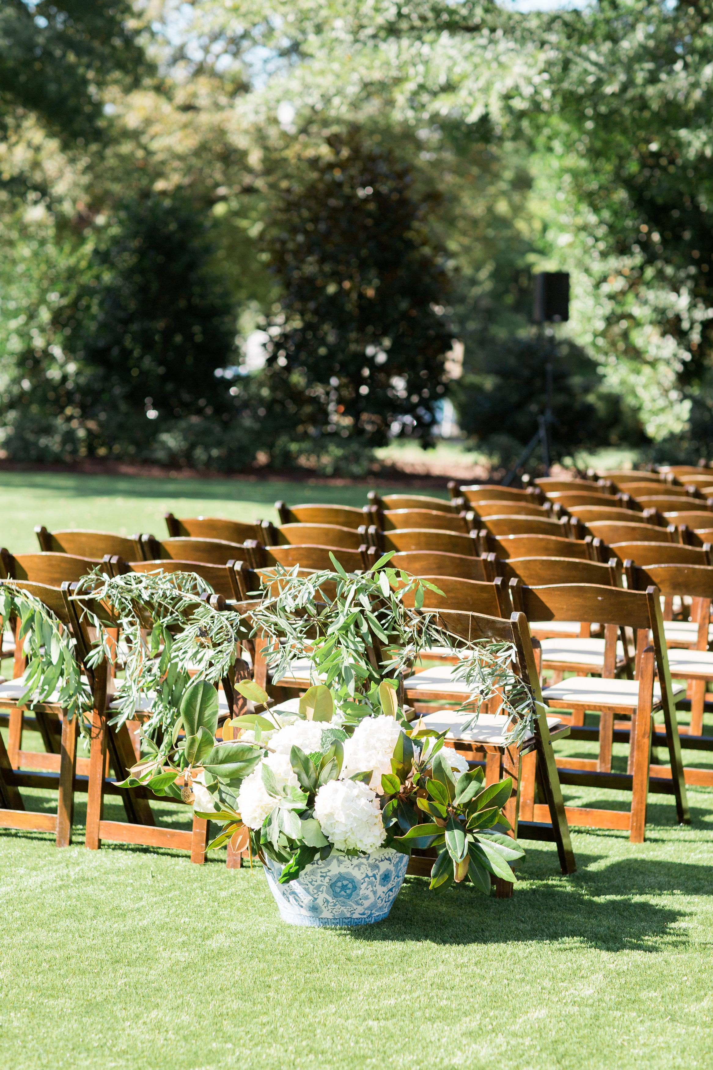 Ginger Jars incorporated into outdoor ceremony at Merrimon Wynne, Melissa Delorme