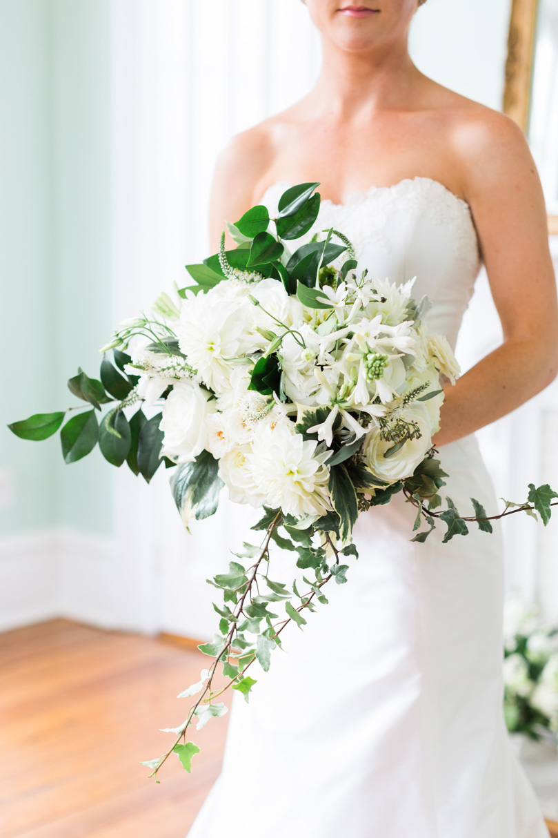 Large white various flower bridal bouquet from NC florist at The Merrimon Wynne by Gather Together, Melissa Delorme