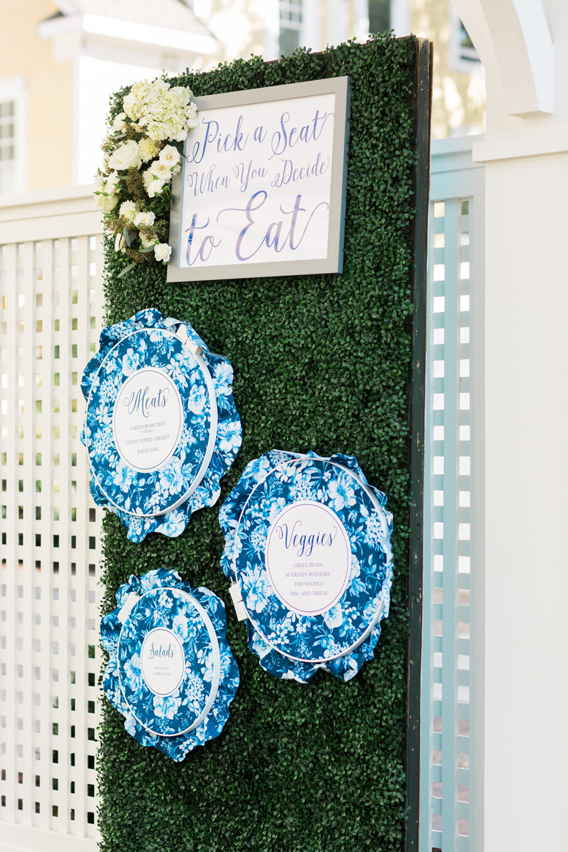 Leaf wall and menu idea for outdoor wedding at The Merrimon Wynne by Gather Together, Melissa Delorme